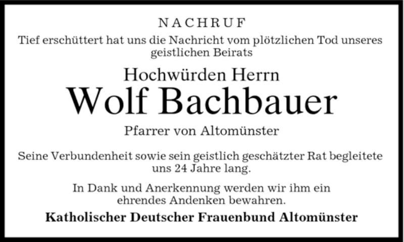 Traueranzeige für Wolf Bachbauer vom 30.01.2007 aus MERKUR & TZ