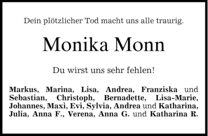 Anzeige von  Monika Monn