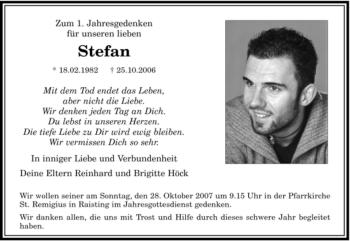 Traueranzeige von Stefan Höck von MERKUR & TZ