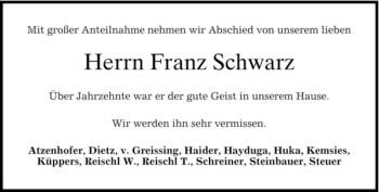 Traueranzeige von Franz Schwarz von MERKUR & TZ