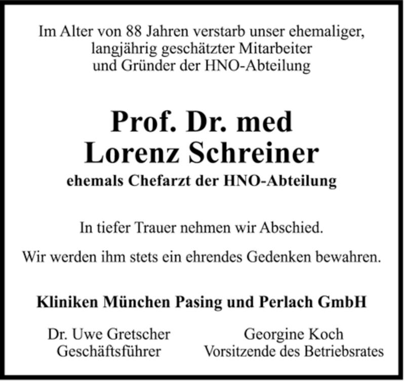 Traueranzeige für Lorenz Schreiner vom 16.08.2008 aus MERKUR & TZ