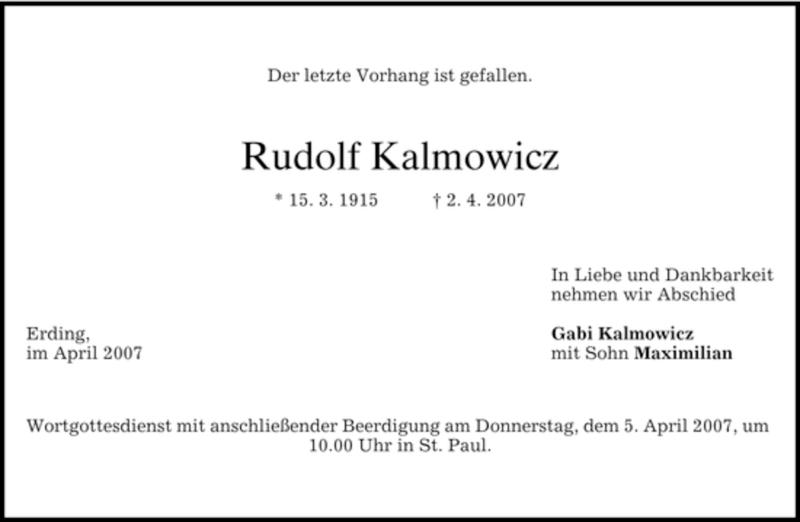 Traueranzeige für Rudolf Kalmowicz vom 03.04.2007 aus DORFENER NACHRICHTEN