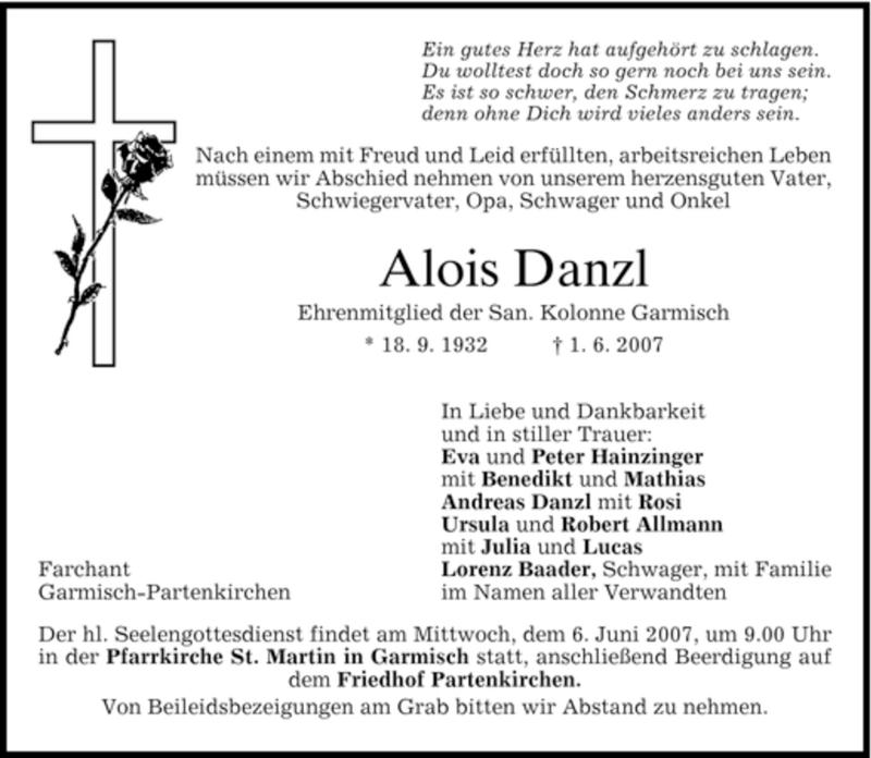 Traueranzeige für Alois Danzl vom 04.06.2007 aus MERKUR & TZ