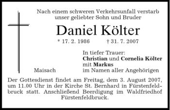 Traueranzeige von Daniel Költer von MERKUR & TZ