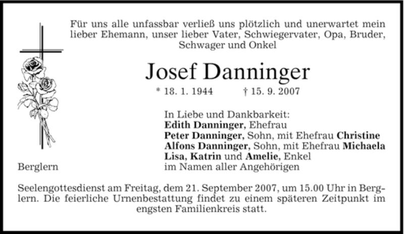 Traueranzeige für Josef Danninger vom 19.09.2007 aus DORFENER NACHRICHTEN