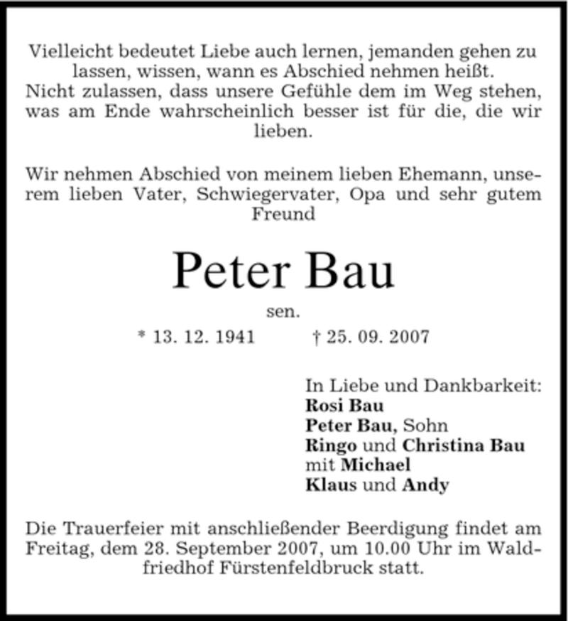 Traueranzeige für Peter Bau vom 27.09.2007 aus MERKUR & TZ