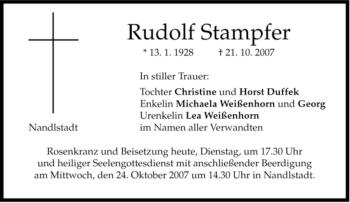 Traueranzeige von Rudolf Stampfer von MERKUR & TZ