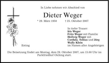 Traueranzeige von Dieter Weger von MERKUR & TZ