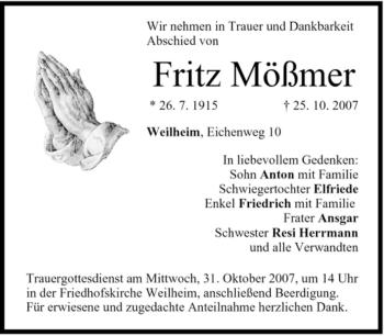 Traueranzeige von Fritz Mößmer von MERKUR & TZ
