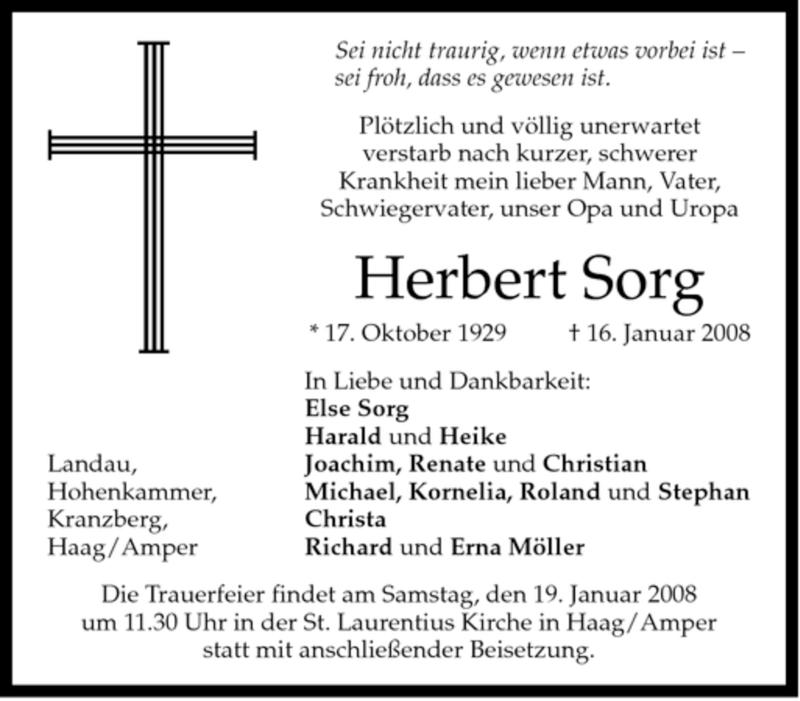Traueranzeigen von Herbert Sorg   trauer.merkur.de