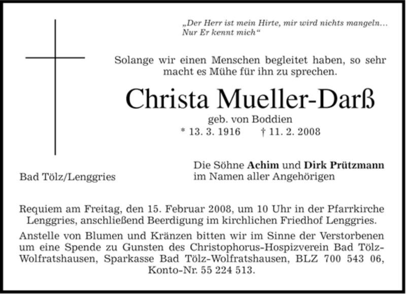 Traueranzeige für Christa Mueller-Darß vom 13.02.2008 aus MERKUR & TZ