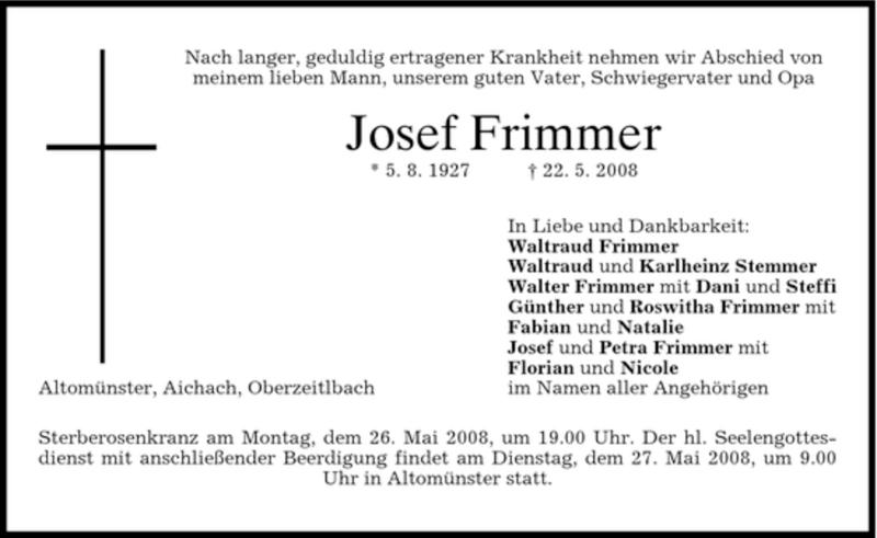 Traueranzeige für Josef Frimmer vom 24.05.2008 aus HOLZKIRCHENER MERKUR
