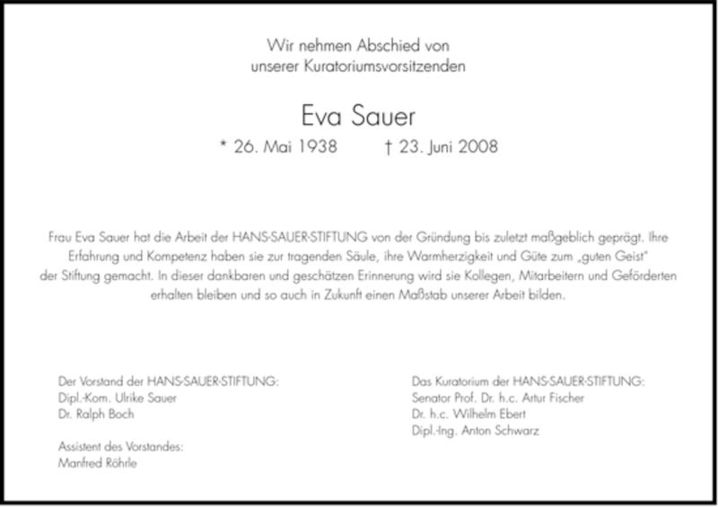 Traueranzeige für Eva Sauer vom 27.06.2008 aus DORFENER NACHRICHTEN