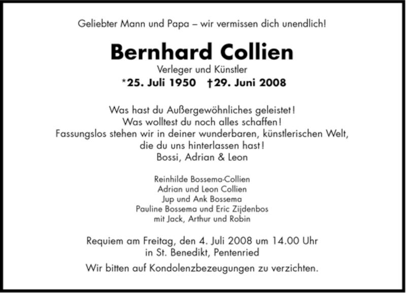 Anzeige von  Bernhard Collien