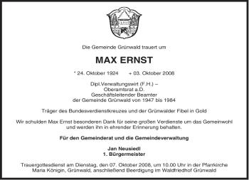 Traueranzeige von Max Ernst von MERKUR & TZ