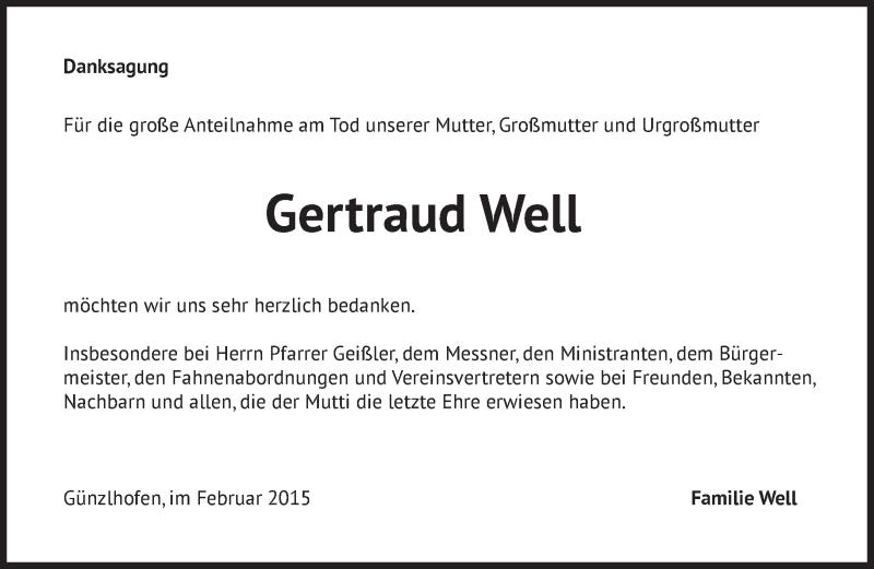 Traueranzeige für Gertraud Well vom 04.02.2015 aus merkurtz