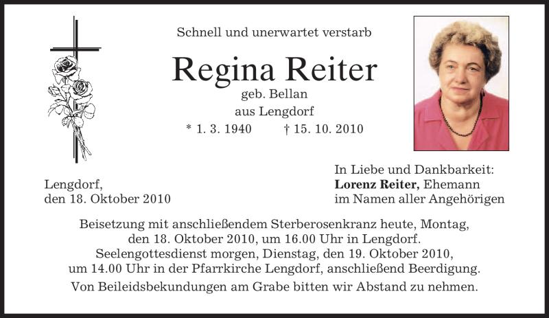 Traueranzeige für Regina Reiter vom 18.10.2010 aus MERKUR & TZ
