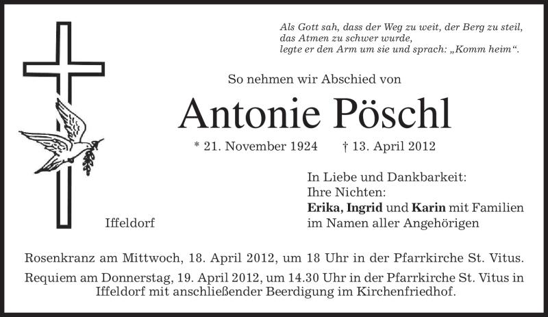 Traueranzeige für Antonie Pöschl vom 17.04.2012 aus MERKUR & TZ