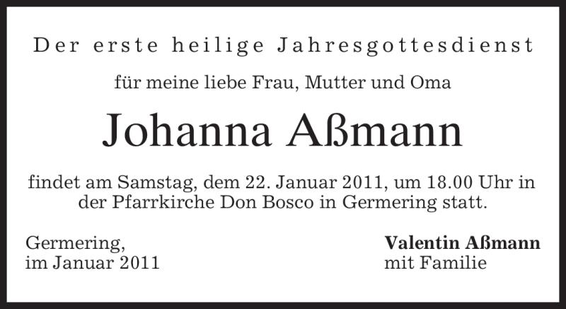 Anzeige von  Johanna Aßmann