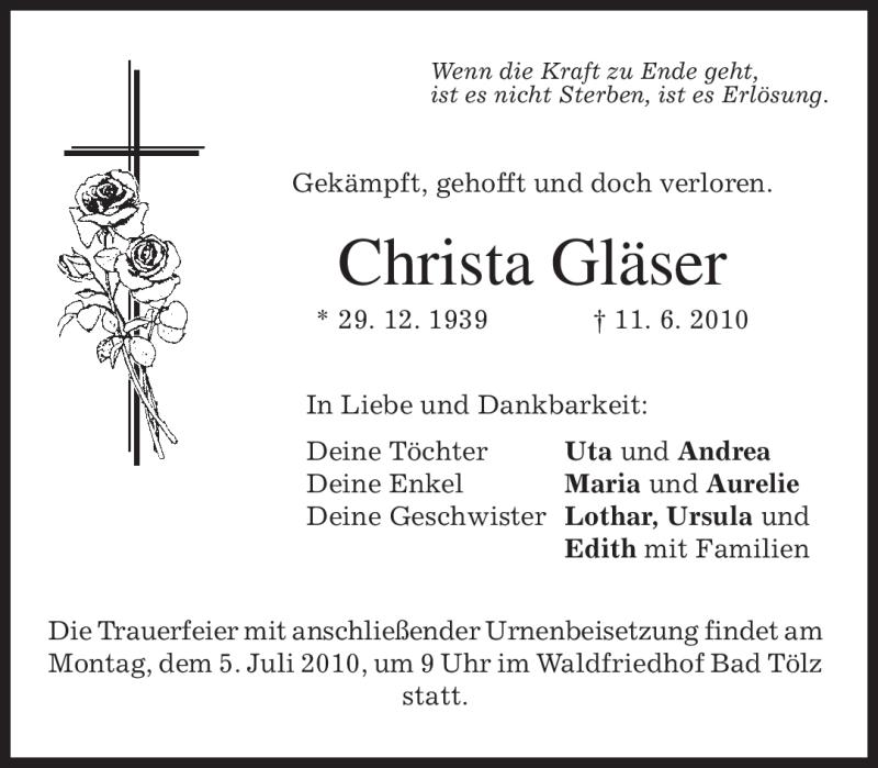 Traueranzeige für Christa Gläser vom 02.07.2010 aus MERKUR & TZ