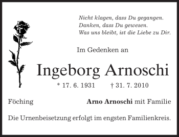 Traueranzeige von Ingeborg Arnoschi von MERKUR & TZ