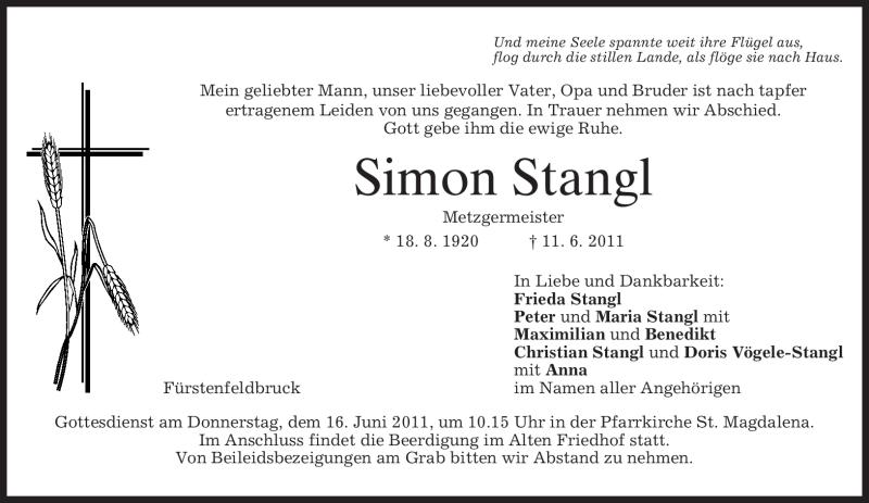 Traueranzeige für Simon Stangl vom 15.06.2011 aus MERKUR & TZ