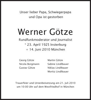 Traueranzeige für Werner Götze vom 02.07.2010 aus MERKUR & TZ