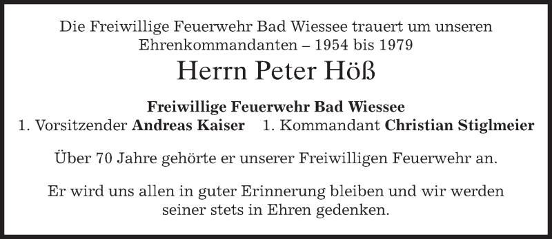 Traueranzeige für Peter Höß vom 29.06.2015 aus merkurtz