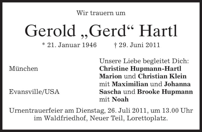 Anzeige von  Gerold Hartl