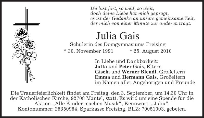Traueranzeige für Julia Gais vom 31.08.2010 aus MERKUR & TZ