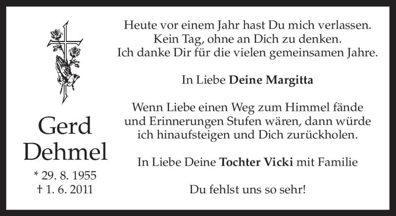 Anzeige von  Gerd Dehmel