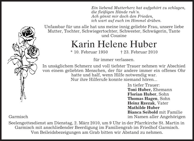 Anzeige von  Karin Helene Huber