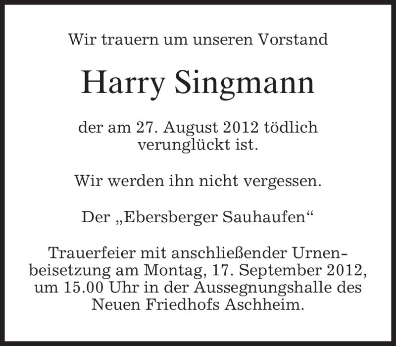 Anzeige von  Harald Singmann