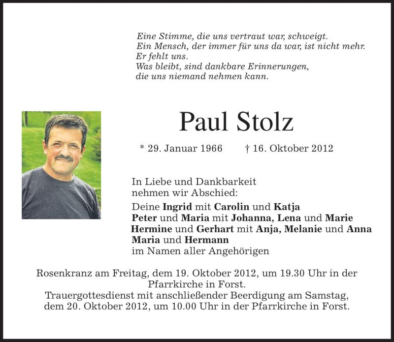 Traueranzeige für Paul Stolz vom 19.10.2012 aus merkurtz