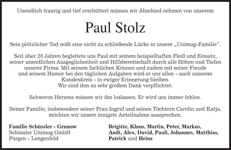 Traueranzeige für Paul Stolz vom 20.10.2012 aus merkurtz