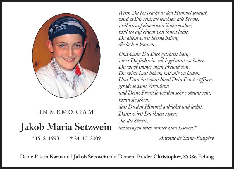 Traueranzeige für Jakob Maria Setzwein vom 24.10.2012 aus merkurtz