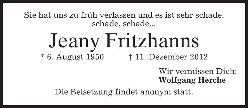Anzeige von  Jeany Fritzhanns