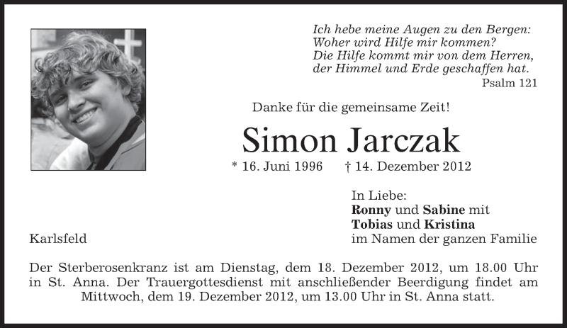 Traueranzeige für Simon Jarczak vom 17.12.2012 aus merkurtz