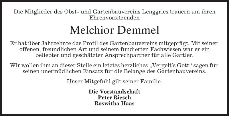 Anzeige von  Melchior Demmel