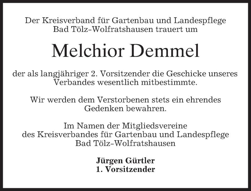 Traueranzeige für Melchior Demmel vom 03.01.2013 aus merkurtz