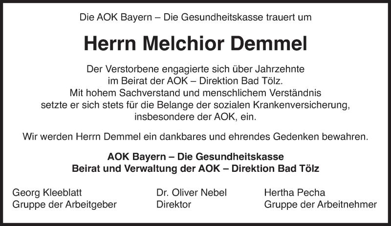 Traueranzeige für Melchior Demmel vom 04.01.2013 aus merkurtz
