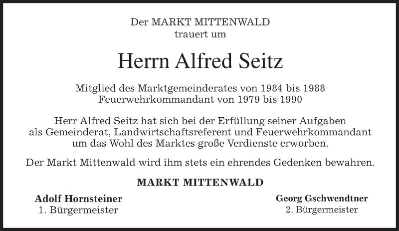 Anzeige von  Alfred Seitz