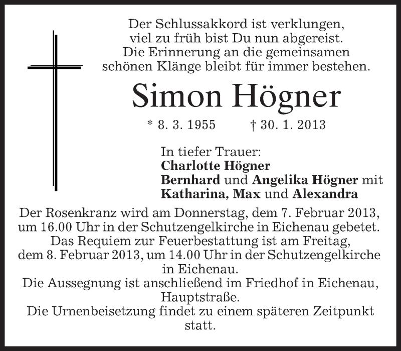 Traueranzeige für Simon Högner vom 02.02.2013 aus merkurtz