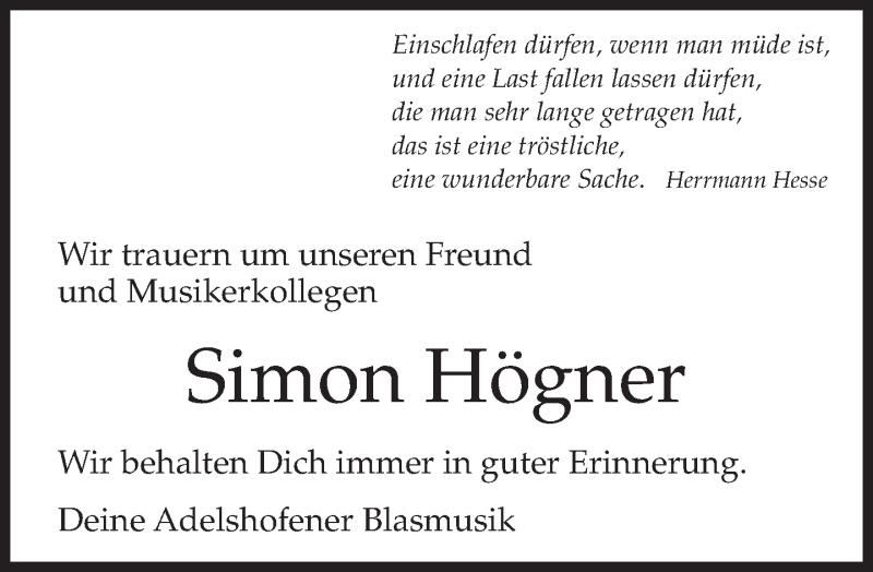 Traueranzeige für Simon Högner vom 05.02.2013 aus merkurtz
