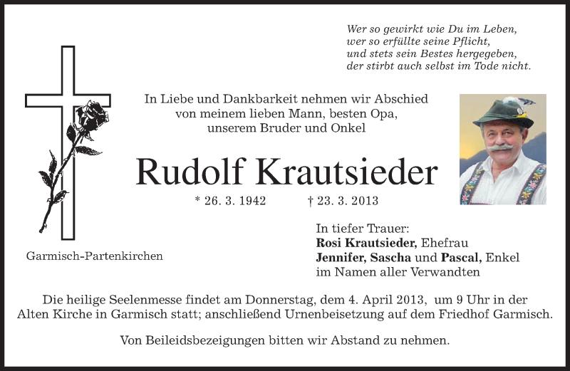 Traueranzeige für Rudolf Krautsieder vom 30.03.2013 aus merkurtz