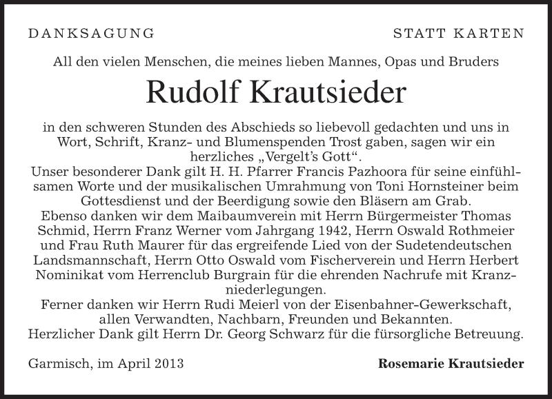 Traueranzeige für Rudolf Krautsieder vom 13.04.2013 aus merkurtz