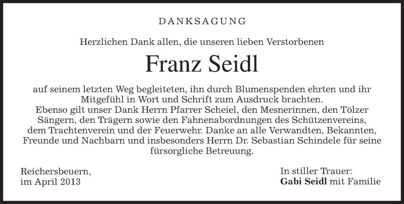Traueranzeige für Franz Seidl vom 27.04.2013 aus merkurtz