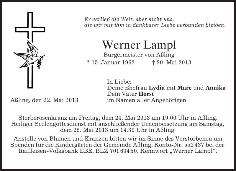 Traueranzeige für Werner Lampl vom 22.05.2013 aus merkurtz
