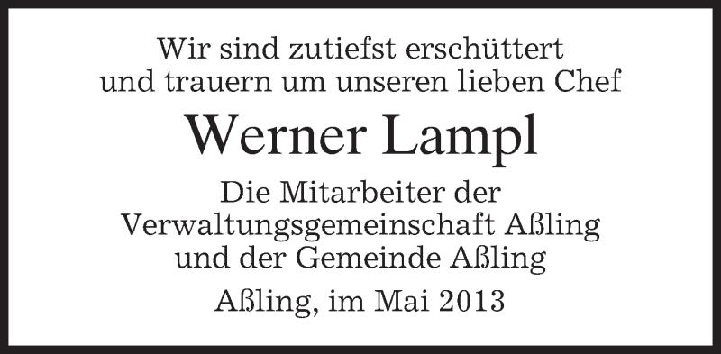 Traueranzeige für Werner Lampl vom 23.05.2013 aus merkurtz