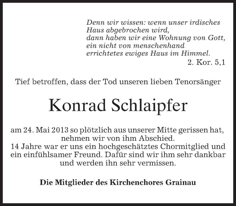 Traueranzeige für Konrad Schlaipfer vom 31.05.2013 aus merkurtz